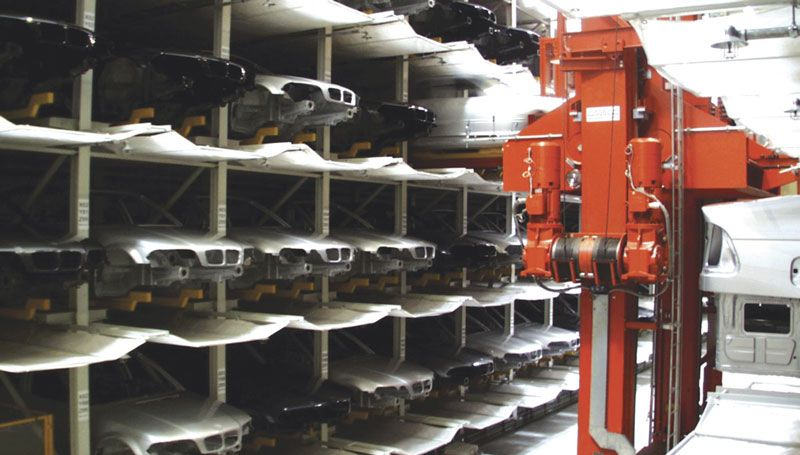 Vehicle body, engine and transmission warehouses